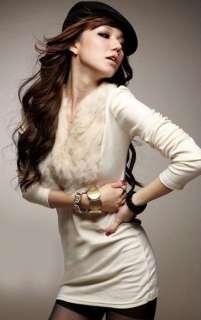 Womens V Neck Faux Fur Long Sleeve T Shirt Top 4 Colors K324