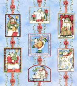 SNOW FLURRIES~CLOTHWORKS PANEL~CHRISTMAS~SNOWMAN~BIRDS