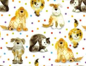 DOGS & CATS On POLKA DOTS GIFT WRAPPING PAPER  6 Folded Sheet
