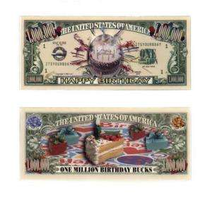 Happy Birthday One Million Dollar Bill Note $1000000