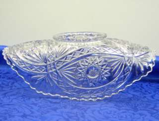Imperial Glass Roanoke Star Pattern Banana/Fruit/Console Bowl EAPG