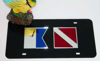ACRYLIC MIRROR Alpha Dive Flag License Plate Scuba Tag