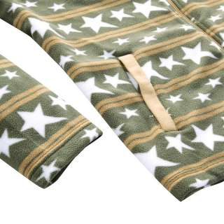 Mens Casual Stars Stripe Pattern Polar Fleece Jackets 3 Colors