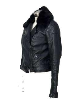 Black Quilted PU Faux Fur Collar Biker Jacket 6 8 10 12 14 16