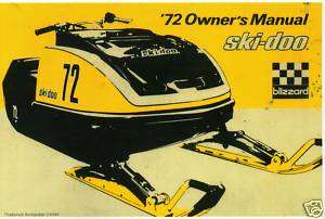 1972 SKI DOO BLIZZARD RACING SNOWMOBILE MANUAL SHARP