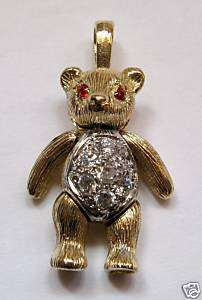 9ct Gold C Z Medium Moveable Teddy bear Pendant 8.3g