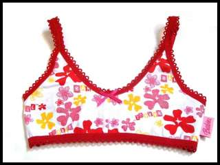 BARBIE BRA CROP TOP WHITE/RED AGES 4 10 YRS *BNWT*