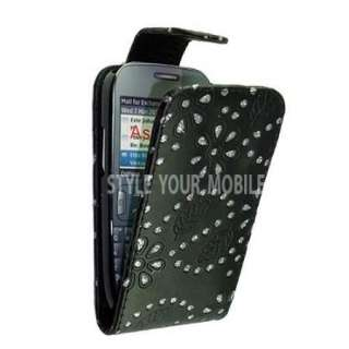 FOR NOKIA ASHA 302 BLACK DIAMOND BLING GLITTER LEATHER MAGNETIC FLIP