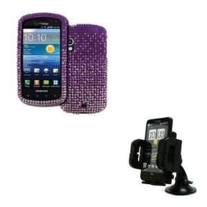 Diamond Bling Design Case Cover (Purple Fade) + Car Dashboard Mount