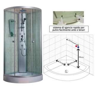 40store] Box cabina doccia idromassaggio semicircolare 90x90x225
