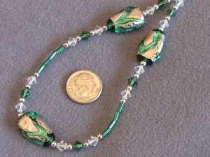 Vintage Kramer Green Volcano Foil and Swarovski Crystal Bead Necklace