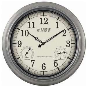 La Crosse Technology 18 Pewter Analog Atomic Clock   WT
