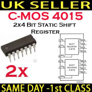 2x CD4015 HCF4015 HEF4015 2x4 Bit Static Shift C MOS IC