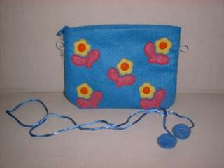 Cute Girl Blue Flower Patch Travel Shoulder Bag Makeup Case Pom Ball