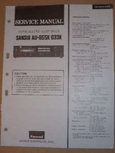Sansui Service/Repair Manual~AU G55X/G33X Amplifier Amp