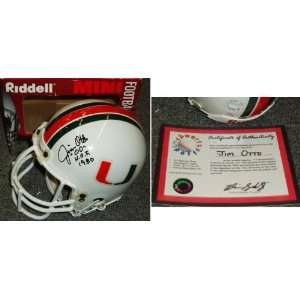 Jim Otto Signed University of Miami Riddell Mini Helmet w