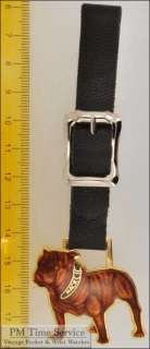 strap pocket watch fob, gold toned & enamel Mack bulldog shield