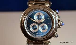 CARTIER PASHA CHRONOGRAPH BLUE DIAL QUARTZ MOVEMENT FULLY LINKED STEEL