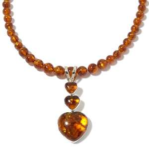 Amore Amber Sterling Silver Pendant with Bead Necklace