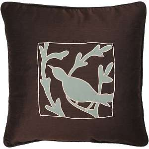 18 x 18 Bird Silhouette Pillow   Brown/Blue