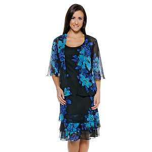 Bella Blue Floral Print Dress with Jacket