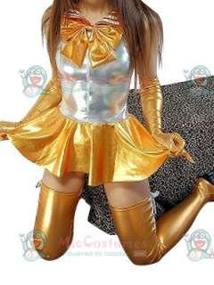 Silver Gold Shiny Metallic Bowknot Mini Skirt Suit