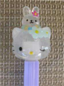 CLOUDY HELLO KITTY CRYSTAL PEZ   WITH RABBIT   LOOSE*