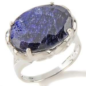 Princess Jaipur 11.93ct Blue Corundum Sterling Silver Oval Ring