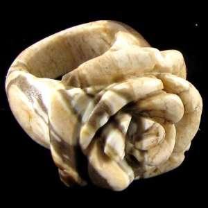 Natural zebra jasper carved rose flower ring size 6.5