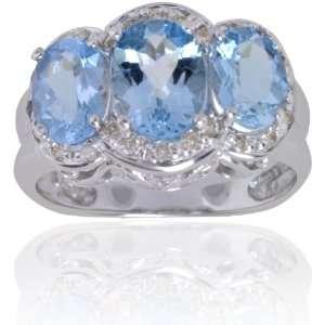 Michael Valitutti 14K White Gold Aquamarine & Diamond Three Stone Ring