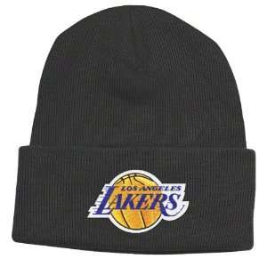 Los Angeles Lakers Black Basic Logo Cuffed Knit Hat