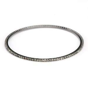 Black Diamond Crystal Bangle Bracelet Slip On SusanB. Jewelry