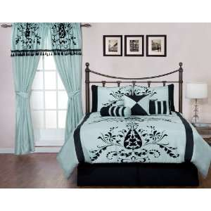 7 Pc Black/Blue Floral Bed In A Bag Comforter Set Queen