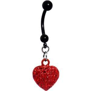 Romantic Ruby Red Gem Heart Belly Ring Jewelry