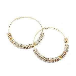 Wives Celebrity Inspired Hoop Earrings   Large Gold Diamond Jewelry