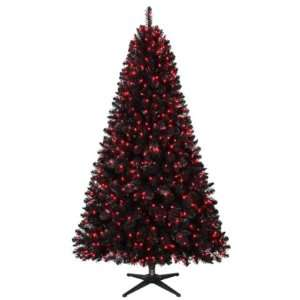 5ft Oxford Black Pine Christmas Tree with Pink Lights
