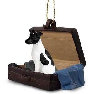 Black/White Fox Terrier Traveling Companion Dog Ornament
