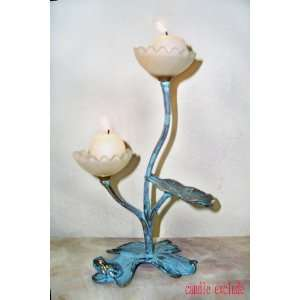 Brass Candle Holder   Lily Pad with Frog: Home & Kitchen