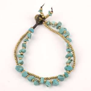 Multi turquoise brass gold cuff strand charms bracelet by