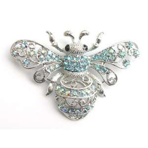 Light Blue Crystal Rhinestone Queen Bee Fly Insect Pin Brooch Jewelry