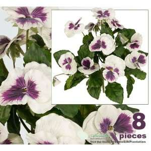 Eight 10 Pansy Artificial Silk Flower Bushes for Home Decoration