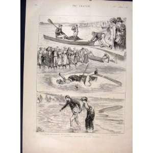 Canoeing Incident Seaside Canoe Man Lady Print 1891