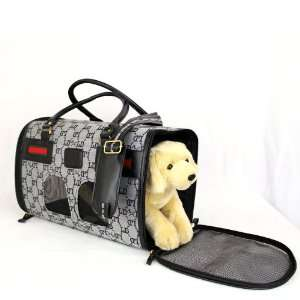 Dog Puppy Cat Pet Travel Carrier Bag Tote Black Gray