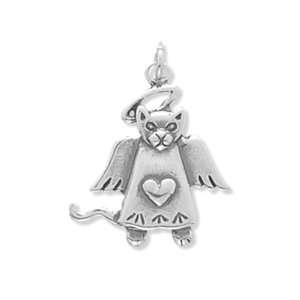 Sterling Silver Kitty Cat Angel Charm Jewelry