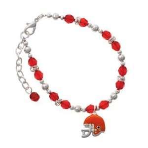 Small Orange Football Helmet Red Czech Glass Beaded Charm Bracelet