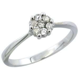 14k White Gold Flower Cluster Diamond Engagement Ring w/ 0