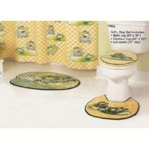 3 FROG bath mat toilet RUG SET kids home Bathroom DECOR