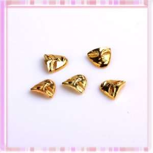 Cool Golden Face Mask Design Nail Art Sticker Metal 5Pcs
