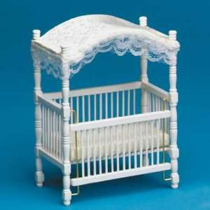 Dollhouse Miniature White Canopy Crib Toys & Games