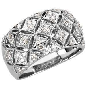 Carat Total Weight Diamond Ring set in 14 kt White Gold(7.5) Jewelry